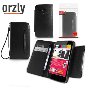 Orzly Leather Style Wallet Case for Moto G - Black