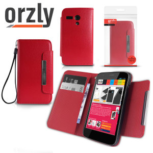 Orzly Leather Style Wallet Case for Moto G - Red