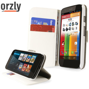 Orzly Multi-Function Wallet Case for Moto G - White