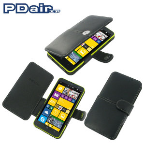Pdair Leather Book Type Case for Nokia Lumia 1320 - Black