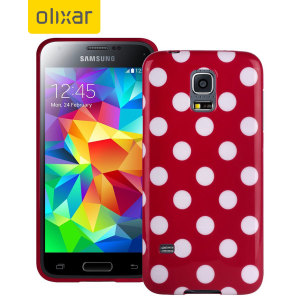 Polka Dot FlexiShield Samsung Galaxy S5 Mini Gel Case - Red
