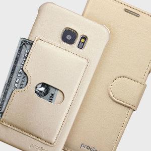 Prodigee Wallegee Samsung Galaxy S7 Edge Wallet & Hard Case - Gold