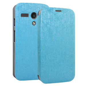 Pudini Book Flip and Stand Case for Motorola Moto G - Blue