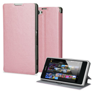 Pudini Flip and Stand Case for Sony Xperia Z1 Compact - Pink