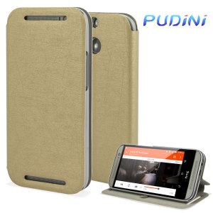 Pudini Flip and Stand HTC One M8 Case - Gold
