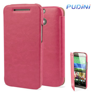 Pudini HTC One M8 Leather-Style Flip Case - Pink