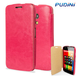Pudini Leather Style Flip Case for Moto G - Pink