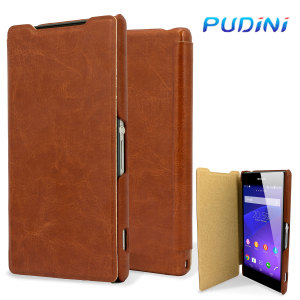 Pudini Leather Style Sony Xperia Z2 Case - Brown