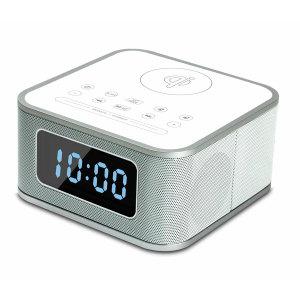 Qi-Tone S1 Alarm Clock Bluetooth Speaker with Qi Charging - White