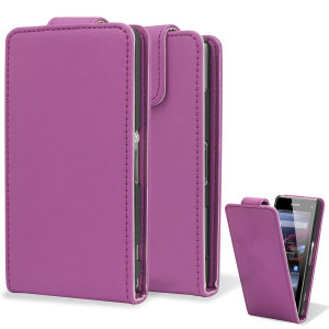 Qubits Faux Leather Flip Case for Sony Xperia Z1 Compact - Pink
