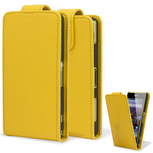 Qubits Faux Leather Flip Case for Sony Xperia Z1 Compact - Yellow