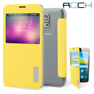 ROCK Elegant Samsung Galaxy S5 Smart View Flip Case - Yellow