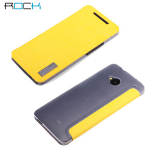 Rock Elegant Side Flip Case For HTC One 2013 - Lemon Yellow