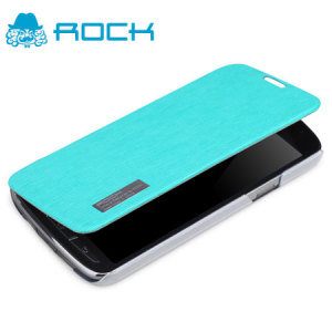 ROCK Elegant Side Flip Case for Samsung Galaxy S4 Active - Azure Blue