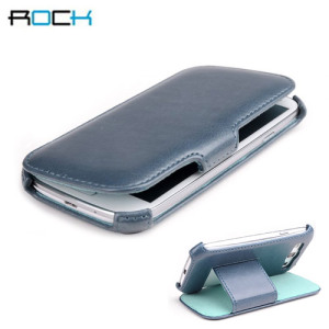 Rock Leather Style Flip and Stand Case for Samsung Galaxy S3 - Blue