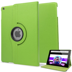 Rotating Leather Style Stand Case for iPad Air - Green