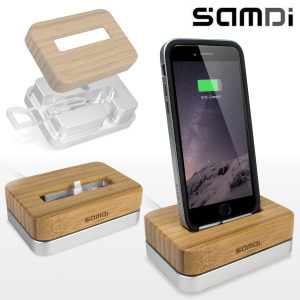 Samdi iPhone 6/5S/5C/5 Luxury Bamboo & Aluminium Holder/Charging Dock