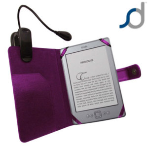 SD Leather Style Case with Light for Amazon Kindle - Purple