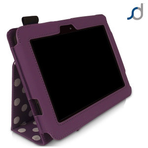 SD Stand and Type Case for Kindle Fire HD 2012 - Purple Polka