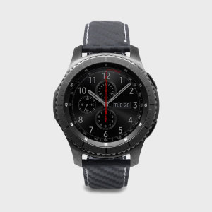 SLG D+ Samsung Gear S3 Carbon Leather Strap - Black