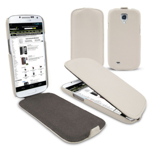 Slimline Carbon Fibre Style Flip Case for Samsung Galaxy S4 - White