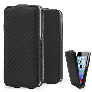 Slimline Carbon Fibre Style iPhone 5 Flip Case - Black