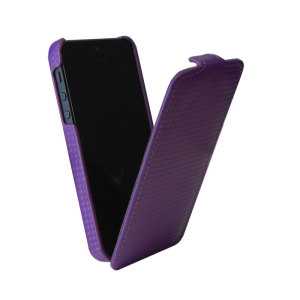 Slimline Carbon Fibre Style iPhone 5S / 5 Flip Case - Purple