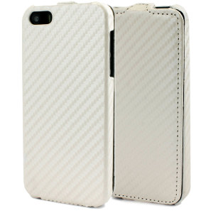 Slimline Carbon Fibre-Style iPhone 5S / 5 Flip Case - White