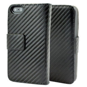 Slimline Carbon Fibre-Style iPhone 5S / 5 Wallet Case - Black