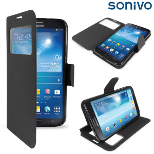 Sonivo Sneak Peek Flip Case for Samsung Galaxy Mega 6.3 - Black