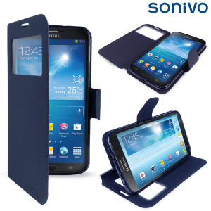 Sonivo Sneak Peek Flip Case for Samsung Galaxy Mega 6.3 - Blue