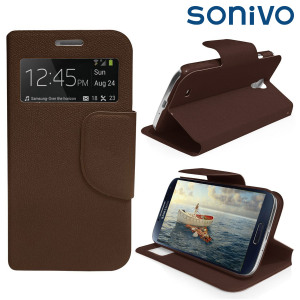 Sonivo Sneak Peek Flip Case for Samsung Galaxy S4 - Brown