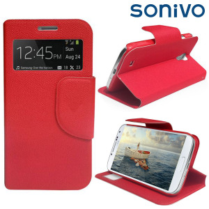 Sonivo Sneak Peek Flip Case for Samsung Galaxy S4 - Red