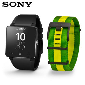Sony SmartWatch 2 FIFA Edition (Silicon Black & Brazilian Flag Straps)