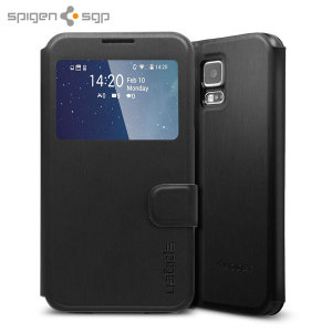 Spigen Samsung Galaxy S5 Ultra Flip View Cover - Metallic Black