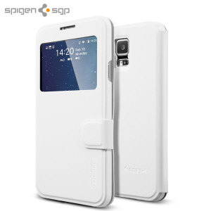 Spigen Samsung Galaxy S5 Ultra Flip View Cover - Metallic White