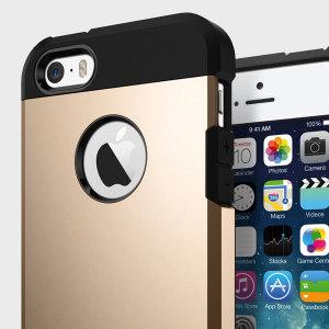 Spigen Tough Armor iPhone SE Case - Champagne Gold