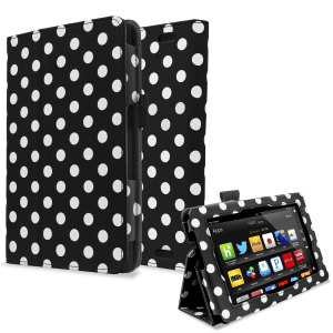 Stand and Type Case for Kindle Fire HD 2013 - Black Polka