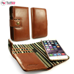 Tuff-Luv iPhone 6S / 6 Vintage Leather Wallet Case with RFID - Brown