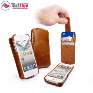 Tuff-Luv Leather In-Genius Flip for iPhone 5C - Brown