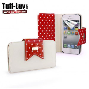 Tuff Luv Polka-Hot Case for iPhone 5S / 5 - Red/White