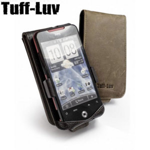 Tuff-Luv Saddleback Leather Flip Case for HTC Incredible - Brown