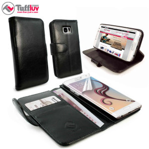 Tuff-Luv Vintage Leather Samsung Galaxy S6 Edge Wallet Case - Black