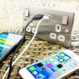 UK Power Socket USB Charging Wall Plate - Steel / White