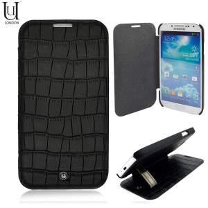 Uunique Croc Leather Folio Case for Samsung Galaxy S4 - Black