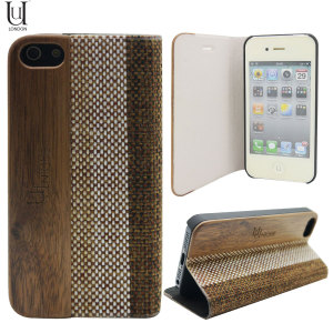 Uunique Heritage Wood & Linen iPhone 5S / 5 Hard Shell Case - Brown
