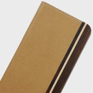 Uunique Leather-Style Folio Samsung Galaxy S7 Wooden Case - Tan Brown
