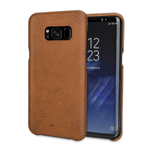 vaja grip samsung galaxy s8 plus premium leather case brown