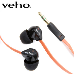 Veho 360 Noise Isolating Earphones with Flat Flex Cord - Orange