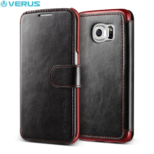 Verus Dandy Leather-Style Samsung Galaxy S6 Edge Wallet Case - Black